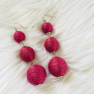 Jewelry - NEW Pink Bon Bon Triple Ball Dangle Earrings